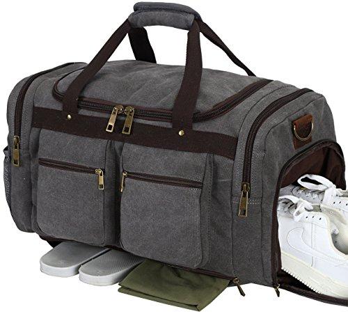 Weekender Overnight Duffel Bag Shoe Pocket for Women Men Weekend Travel Tote Carry On Bag (Grey)