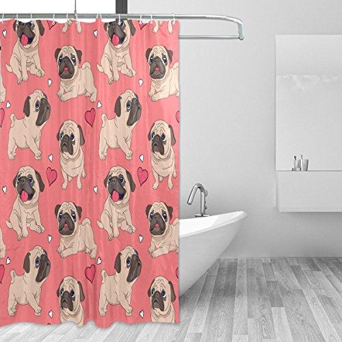 Vantaso Shower Curtains 66x72 Cute Pug Dog Love Heart Dark Pink Waterproof for Bathroom Kids Boys Girls Adults