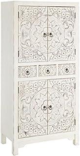 Tousmesmeubles Armoire 4 Portes, 3 tiroirs Blanche Meuble Chinois - Pekin - L 63 x l 33 x H 131 - Neuf