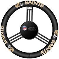 Fremont Die NFL New Orleans Saints Leather Steering Wheel Cover, Fits Most Steering Wheels, Black/Team Colors