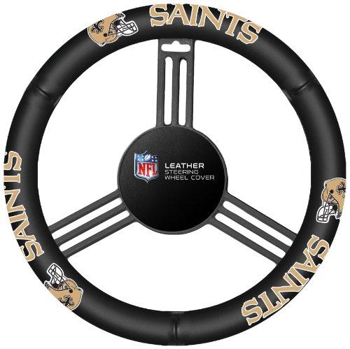 Fremont Die NFL New Orleans Saints Leather Steering Wheel Cover, Fits Most Steering Wheels, Black/Team Colors