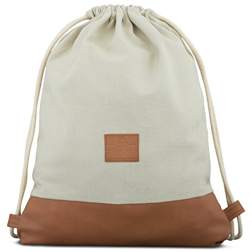 Turnbeutel Hipster Sand/Braun - JOHNNY URBAN Luke Canvas Gymsack Gym Bag Beutel Sportbeutel Rucksack für Damen & Herren mit Innentasche - Aus robustem Baumwoll Canvas und veganem Leder