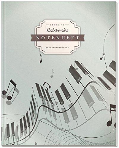 DÉKOKIND Notenheft | DIN A4, 64 Seiten, 12 Notensysteme pro Seite, Inhaltsverzeichnis, Vintage Softcover | Dickes Notenbuch | Motiv: Piano