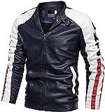 RBELEF Mens Autumn Winter Vintage Zipper Stand Collar Stripe Jacket Coat