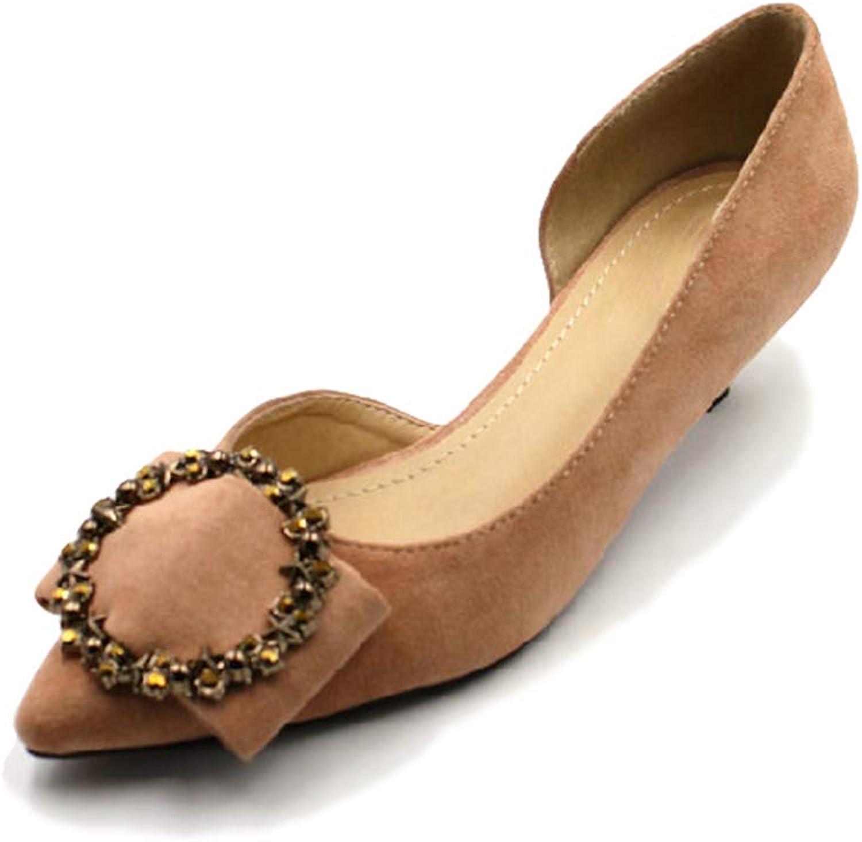 August Jim Women's Flats Pointed Toe Rhinestone Ballet Dress Faux Suede Slip on Women Pumps