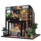 Luerme Maison de Poupée Miniature DIY Maison à Construire Maison Miniature en Kit Mini Maison en Bois Café Jouet Décoration