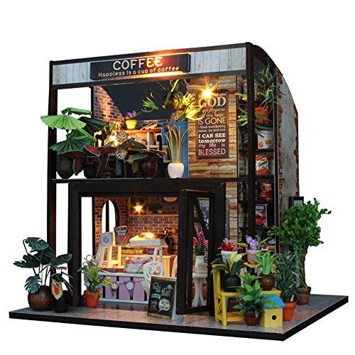 ドールハウスキット DIYハウスキット 木製のハウスミニチュア 西洋風 喫茶店、ビーチハウス、北欧の家 初心者に向け 組み立て簡単 LED付き 誕生日/入学/結婚式/お祝い/クリスマス/新年プレゼント (喫茶店)
