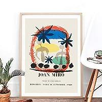 ヴィンテージ抽象ポスター有名なキャンバス絵画ジョアンミロ展写真ミッドセンチュリーモダンプリントホームウォールアートの装飾30x40cmフレームレス