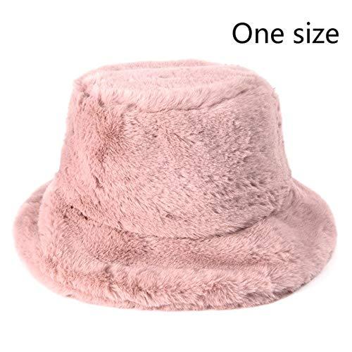 Sombreros de Cubo de Felpa con Estampado de Invierno para Mujer, Sombrero de Sol cálido al Aire Libre, Gorra de Pescador de Terciopelo Suave, Moda para Mujer-Pink
