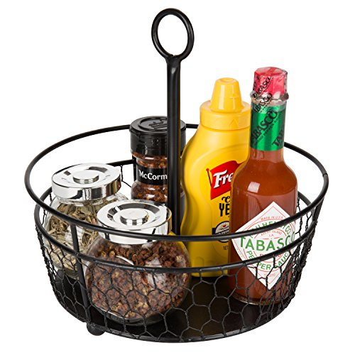 MyGift 9-Inch Black Metal Chicken-Wire Tabletop Condiment Caddy