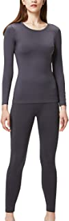 DEVOPS Women's Thermal Heat-Chain Microfiber Fleece Underwear Baselayer Top & Bottom (Long Johns) Set
