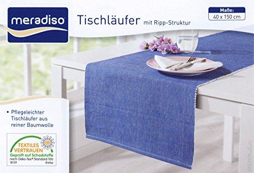 Golden Lutz MERADISO® 1 Tischläufer in RIPP-Struktur (45 x 145 cm, blau)