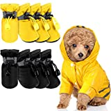 Dog Raincoat Rain Boots Set Include 1 Set Pet Raincoat and 2 Sets Waterproof Pet Boots Shoes, Hooded Four-Leg Dog Jacket Puppy Rain Poncho with Reflective Stripe for Dogs (Yellow, Black, Yellow, S)