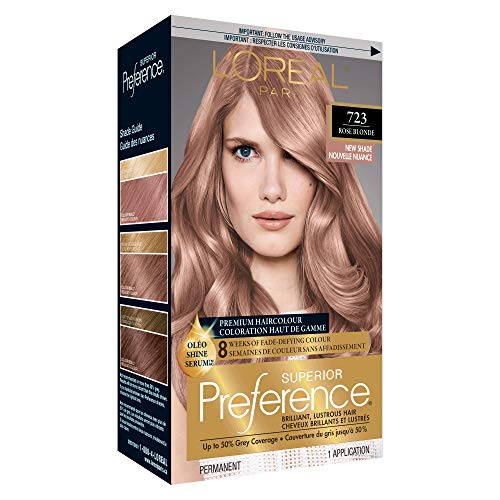 L'Oreal Paris Superior Preference Fade-Defying + Shine Permanent Hair Color, 7RB Dark Rose Blonde, Pack of 1, Hair Dye
