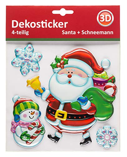 Decoratieve sticker Kerstman met 3D-effect, 4-delig