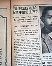 MARIANNA Jackson County FLORIDA Black Lynching CLAUDE NEAL 1934 Old Newspaper THE NEW YORK TIMES, October 28, 1934