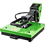 Larger Size 15'x15' Heat Press Machine Easy Use Digital Sublimation Heating Press for T-Shirt Iron Heat Evenly Heat Transfer Machine with Silicone & Sponge Mats, Bright Green