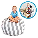 Soothing Company Stuffed Animal Bean Bag Chair for Kids - Extra Large Empty Beanbag - Kid Toy Storage Covers for Your Child's Stuffed Animals and Blankets   Premium Cotton Canvas (27', Grey Stripe)