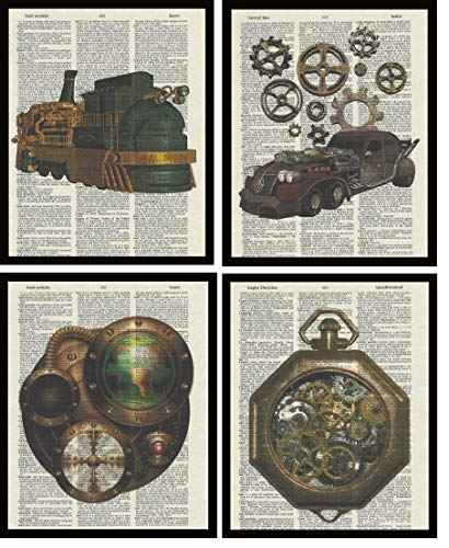 Set of 4 Prints Steampunk Car Train CD Player Time Piece Dictionary Book Page Artwork Print Picture Poster Home Office Bedroom Nursery Kitchen Wall Decor - unframed