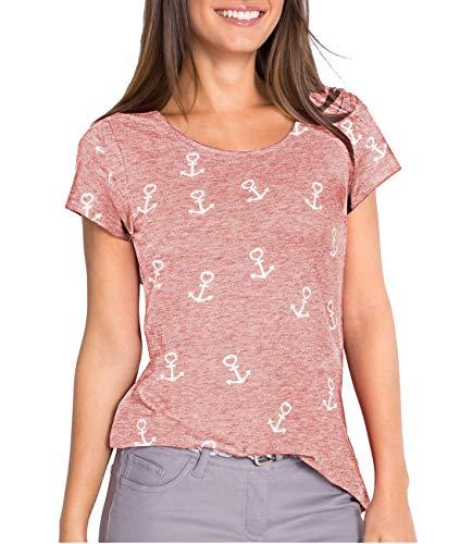 Fleasee Damen T-Shirt Lässig Kurzarm Basic Tee Rundhals Anker Druck Oberteile Tops Bluse