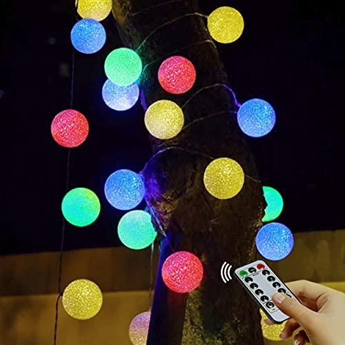 Bolas de luces de hadas impermeables - 3,5 m, 20 LED, 8 modos con control remoto, luces de hadas de globo de 6 cm de diámetro exteriores, para jardín y fiesta de Navidad (multicolor / con pilas)
