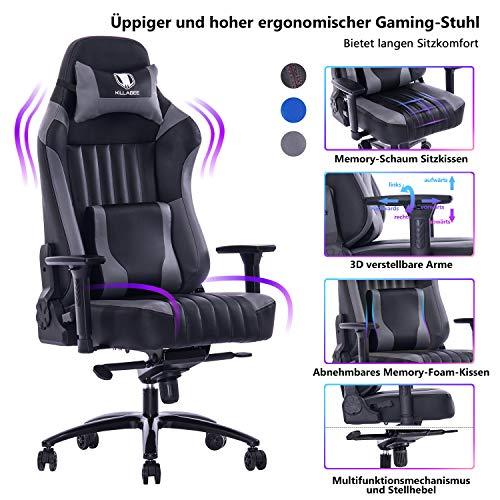 KILLABEE großer Memory Foam Gaming Stuhl Verstellbarer Neigungswinkel Rückenwinkel und 3D-Arme...
