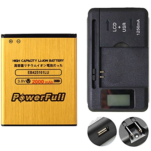 PowerFull 2000 mAh Durable Li-ion Battery EB425161LU High Capacity For Samsung Galaxy Exhibit SGH-T599N + Rapid Charger Universal Travel Wall Battery Charger USB Port LED Indicator