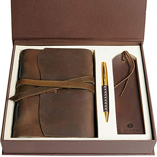 Leather Journal Gift Set with Antique Leather Bookmark + Pen, Handmade Writing Notebook 7x5 Inches...
