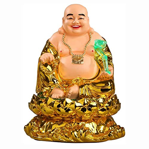 Chinese Feng Shui Resin Laughing Buddha Statue Golden God of Wealth with RU Yi Figurines Sculpture Feng Shui Wealth Luck Gift Decoration