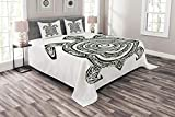 Ambesonne Turtle Bedspread, Maori Tattoo Style of Sea Animal Tribal Spiral Form Tropical, Decorative Quilted 3 Piece Coverlet Set with 2 Pillow Shams, King Size, White Black