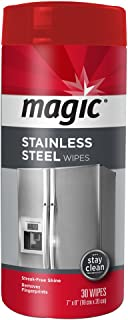 Magic Stainless Steel Wipes - Removes Fingerprints, Residue, Water Marks and Grease From Appliances - Works Great on Refrigerators, Dishwashers, Ovens and More - 30 Count