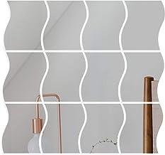 VINFUTUR Verwijderbare Spiegel Muurstickers Zelfklevende DIY Decoratieve Golvende Spiegel Instelling Muursticker Decal voo...