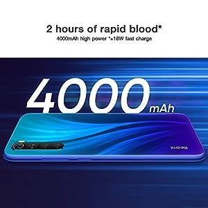 "Xiaomi Redmi Note 8 Smartphone,4GB 64GB Mobilephone, Pantalla Completa de 6.3 "",Procesador Snapdragon 665 Octa Core,Carga Rápida de 4000 mAh,Quad Cámara(48MP + 8MP + 2MP + 2MP) Versión Global(Azul)"