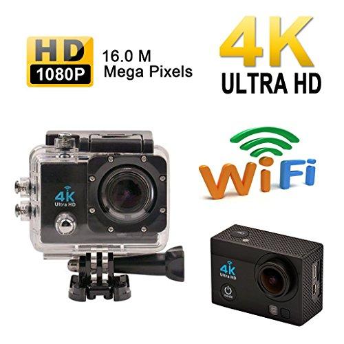 Noza Tec Sport-Kamera, Zubehör-Set, Full HD, wasserdicht, mit W-LAN, 4K, 170Grad, Weitwinkel, Android und iOS