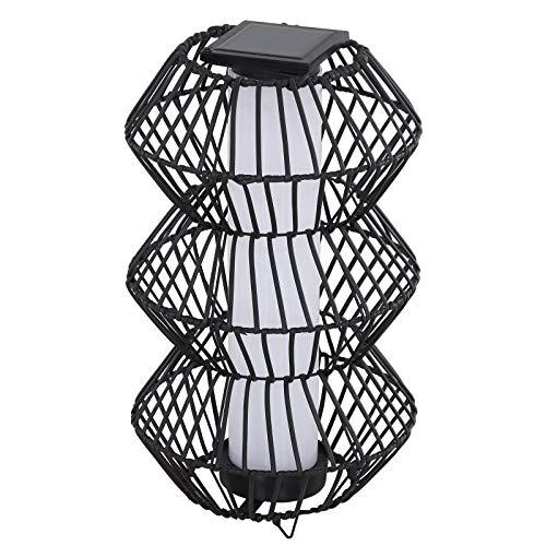 Outsunny LED Solarleuchte, Rattan Stehleuchte, Gartenlampe, Außenleuchte, Wegbeleuchtung, Kaffee, Ø32 x H56 cm