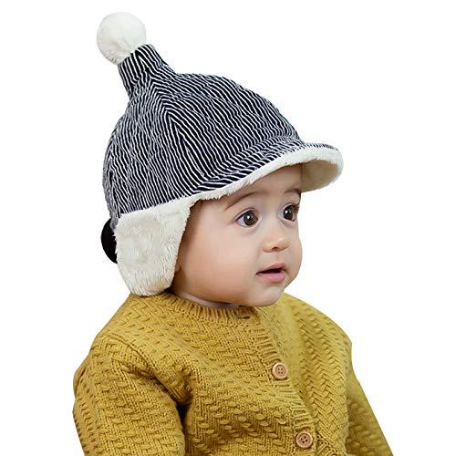WFF Sombrero Bebé Caliente Niños otoño Sombreros de Invierno Gruesa Linda con Orejeras Capilla Sombrero con el Pompom de 3-36 Meses Gorro de puntogorra (Color : 1 Piece)