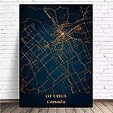 WXDQ Stadtplan Leinwand Wandkunst Poster Ottawa Print