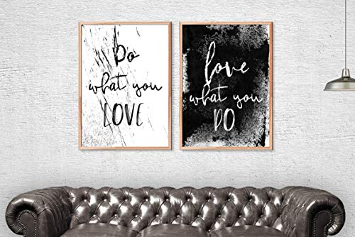 Scott397House Wood Framed Sign Set of Two Black and White Prints Do What You Love Love What You Do Office Print Set Grunge Prints Hipster Printable Minimalist Typography Set 16x20 Inch