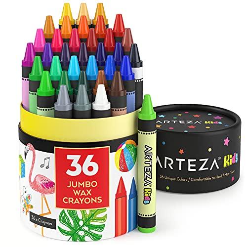 Arteza Kids Jumbo Crayons, Set of 36 Colors, Vivid Toddler Crayons from Wax, Art Supplies for Kids Craft and Drawing Activities