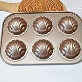 FEF 6 Agujeros Cake Tool Molde con Forma de Concha Acero Inoxidable Madeleine Hacer MoldeConcha Galletas Herramientas para Hornear Pasteles, Banana, China