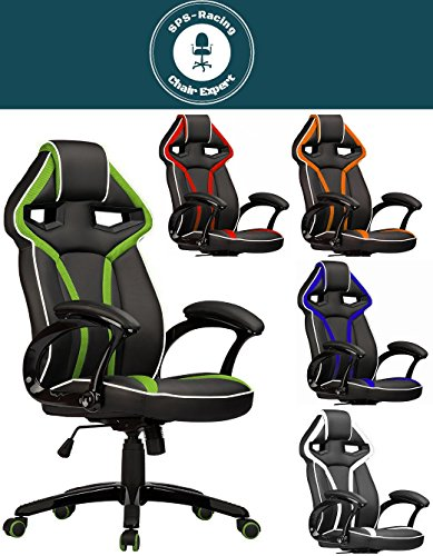 Master Racing Bürostuhl Chefsessel Drehstuhl Schreibtischstuhl Gaming Zocker Stuhl Office Chair (schwarz/grün)
