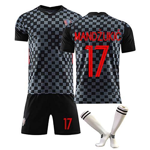 Modric Nr. 10 Mandzukic Nr. 17 Trikots Neuer kroatischer Fußballuniform-Fan-Trainingsanzug, individueller T-Shirt-Shorts für Erwachsene mit Socken-17#-16