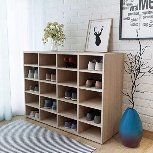 Cikonielf Zapatero de aglomerado 92 x 33 x 67,5 cm con 20 compartimentos, con patas de plástico, color roble para zapatos, botas, zapatillas