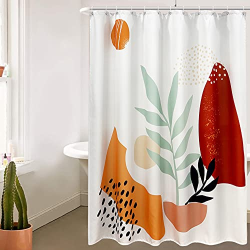 HAOCOO Modern Abstract Shower Curtain Morandi Color Shower Curtain Aesthetic Contemporary Art Bathroom Shower Curtains Set Geometric Pattern Boho Cute Soft Shapes (72×72inch)