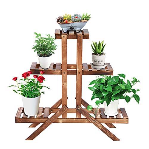 Ejoyous 3-schichtiger Pflanzenständer, Pflanzenregal für Balkon Blumenregal Blumentreppe für Balkon, Garten, Rasen, Blumenladen, 85 x 85 x 26 cm