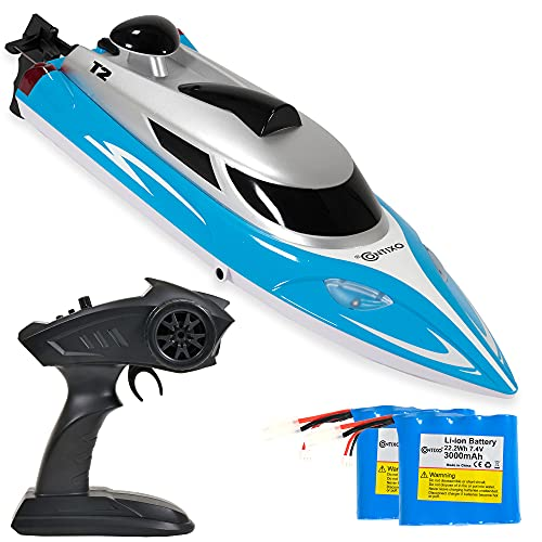 Contixo T2+ RC Boat – Remote Control Boat for Pools and Lakes, Fast RC Boats for Adults and Kids with 20+ mph Speed, 4 Channel 2.4 GHz Remote Control, and 2 Rechargeable 3000mAh Batteries