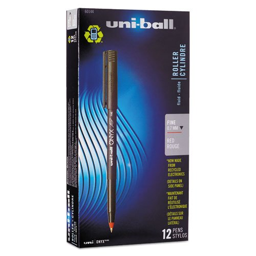 uni-ball Products - uni-ball - Onyx Roller Ball Stick Dye-Based Pen, Red Ink, Fine, Dozen - Sold As 1 Dozen - Precision tungsten ball. - Excellent for carbons and multi-part forms. - Easy to hold matte black barrel. - Liquid ink. -