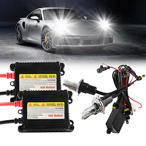 Chemini 55W H4 (HB2) 6000K HID Xenon Conversion Kit Xenon White Car Front Headlight Bulbs High Low Beam Headlight Kit Hight Bright-1 SET