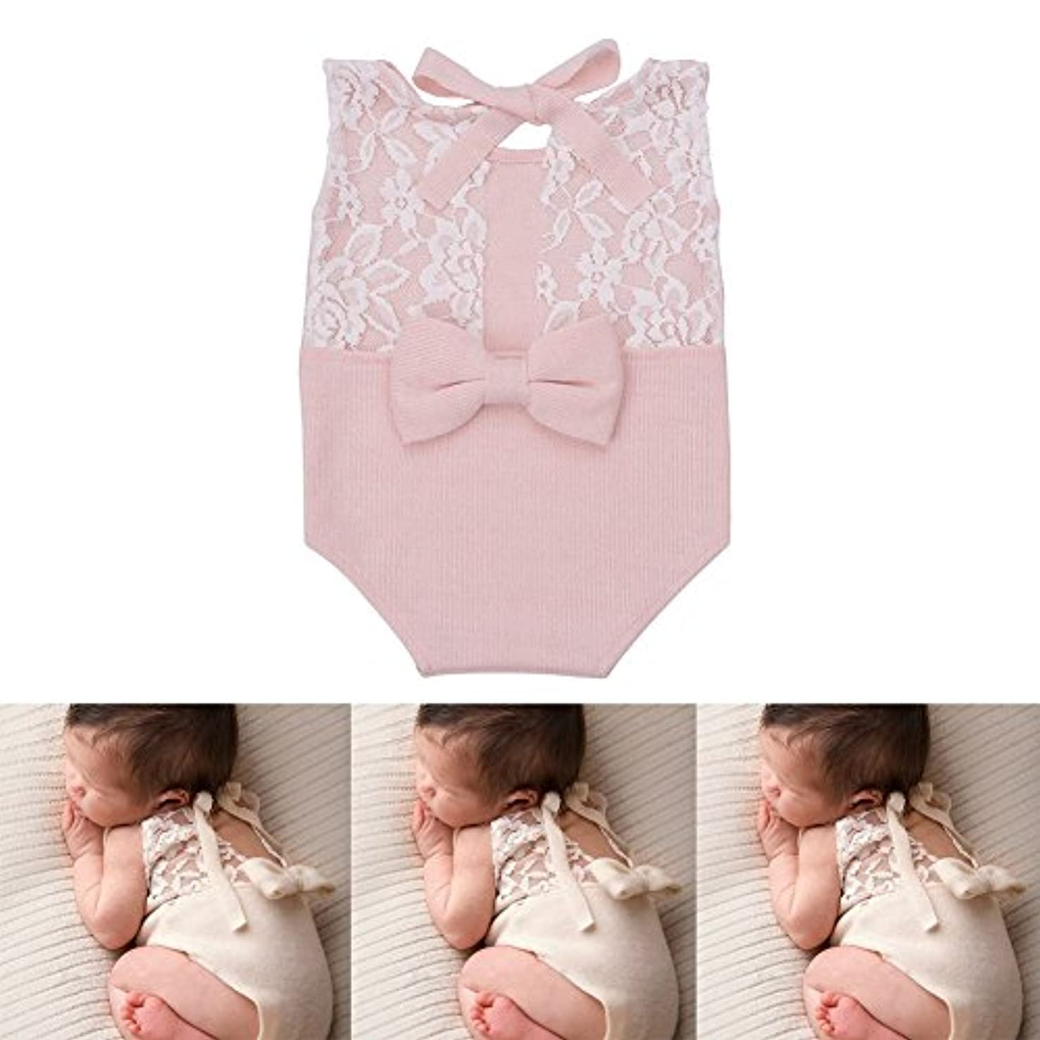 Zeroest Baby Photography Props Rompers Newborn Girl Photo Shoot Outfits Lace Costume Infant Crochet Knitted Clothes (Pink)