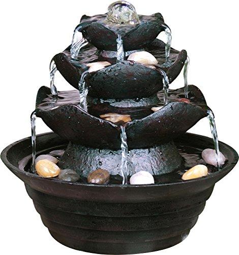 dobar 96400e Fontaine intérieure Design en polyrésine de Style Rocher avec Pierres décorative, Jeu d'Eau avec Pompe pour l'intérieur, Plastique, Noir, 22.2 x 22.2 x 20.6 cm